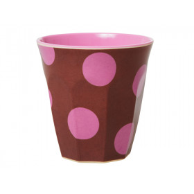 RICE Becher BROWN With Soft Pink Dots