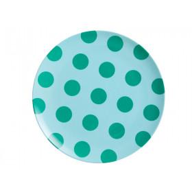 RICE Kleiner Melamin Teller MINT With Green Dots
