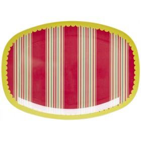 RICE Servierteller Streifen rot gelb