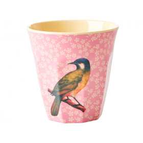 RICE Melaminbecher VINTAGE BIRD rosa