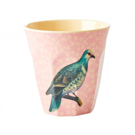 RICE Melaminbecher VINTAGE BIRD hellrosa