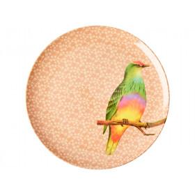 RICE Großer Melaminteller VINTAGE BIRD nougat