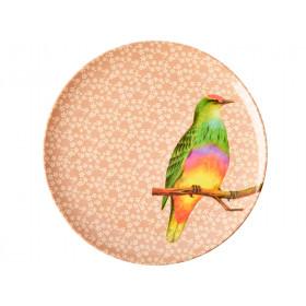 RICE Melaminteller VINTAGE BIRD nougat