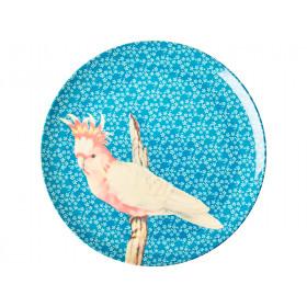 RICE Großer Melaminteller VINTAGE BIRD blau