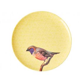 RICE Melaminteller VINTAGE BIRD gelb