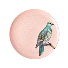 RICE Großer Melaminteller VINTAGE BIRD hellrosa