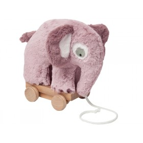 Sebra Plüsch Nachzieh-Elefant altrosa