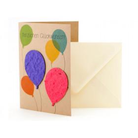 DieStadtgärtner Grußkarte HAPPY BIRTHDAY mit Saatpapier BALLONS