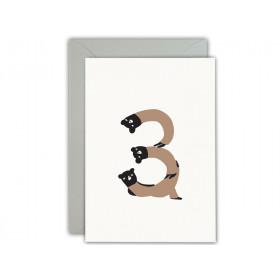 Ted & Tone Grußkarte 3. Geburtstag