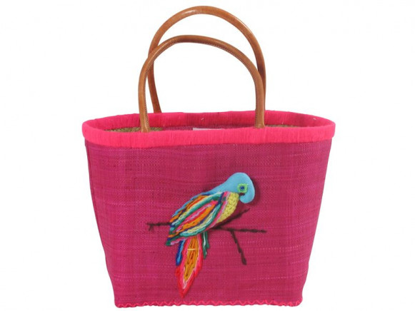 RICE raffia bag with embroidered parrot