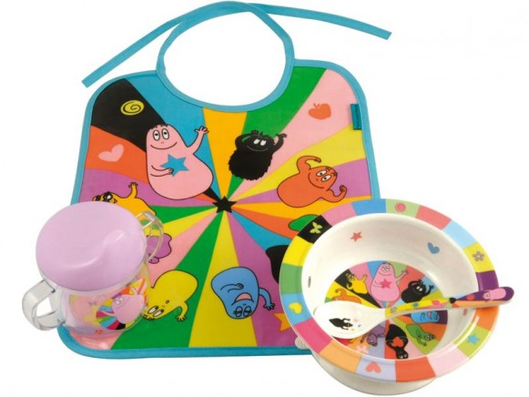 Bib, bowl, spoon and cup Barbapapa by Petit Jour