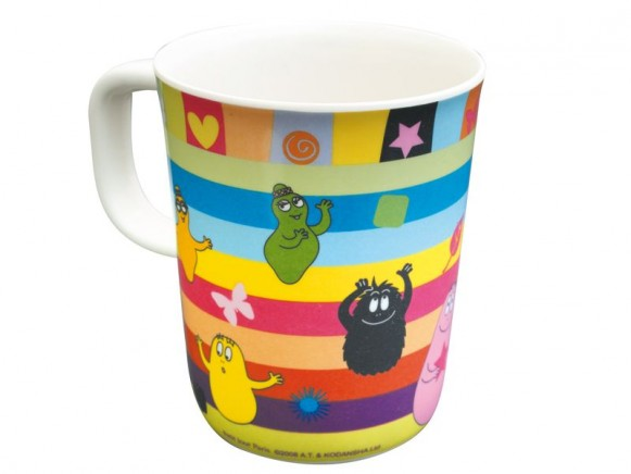 Colourful melamine cup Barbapapa with handle by Petit Jour