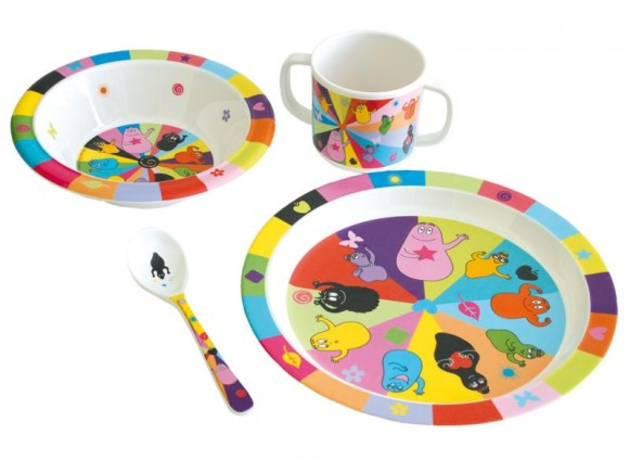Plate, bowl, spoon and cup Barbapapa by Petit Jour