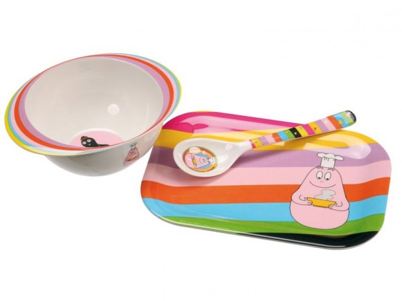 Serving tray, bowl and soup spoon Barbapapa by Petit Jour