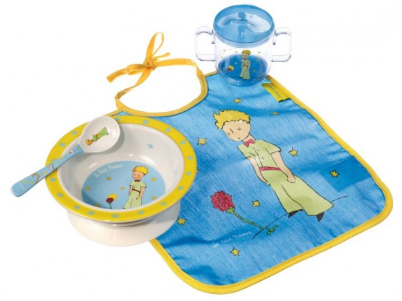 Bowl, spoon, cup and baby bib The little Prince by Petit Jour