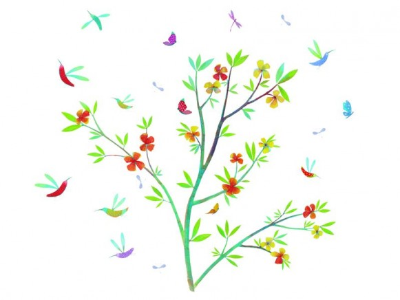 Wall sticker with spring flowers by Djeco