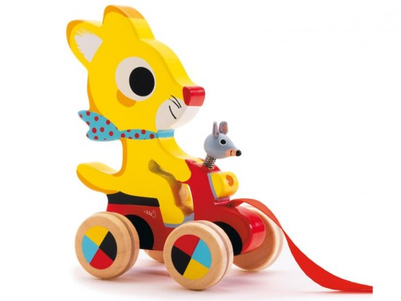 Pull along toy with Chabada the cat by Djeco