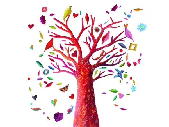 Wall sticker with poetic tree by Djeco