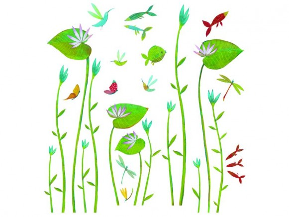 Wall sticker with water lilies by Djeco