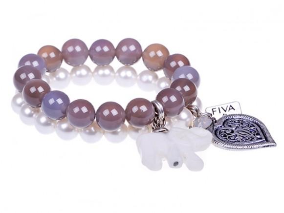 FIVA bracelet (Swarovskiperlen, Agat, Howlit, Swarovski)