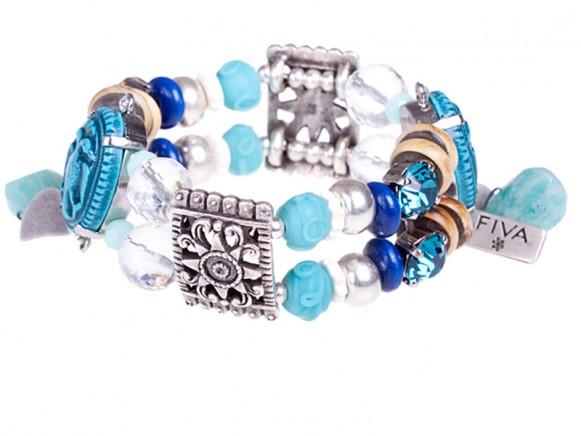 FIVA bracelet (Swarovski, Holz, Bein, versilberte Elemente)