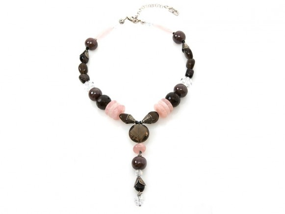 FIVA necklace (Quartz, Rauchquarz, Swarovski)