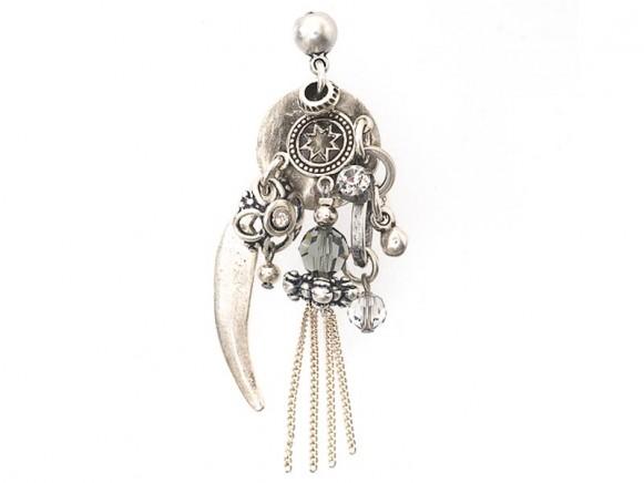 FIVA earring (Swarovski, versilberte Elemente)