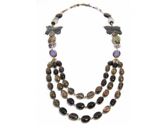 FIVA Necklace (3reihig Natursteine)