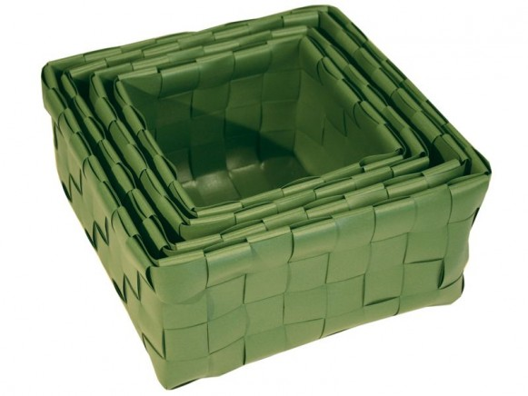 Set of 4 baskets with fat straps in armygreen by Handed By