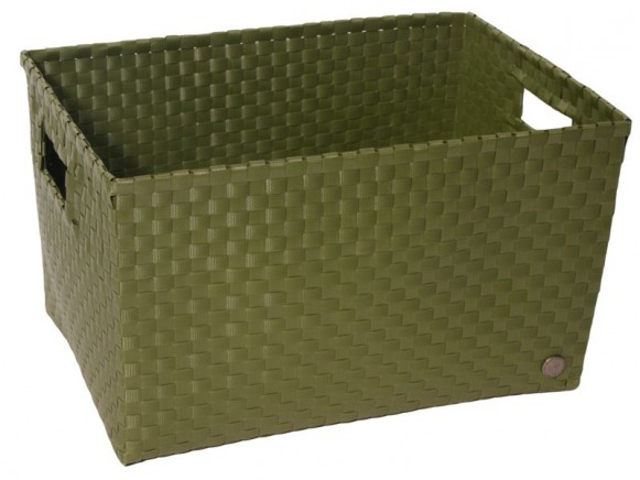 Open basket with open handles in armygreen by Handed By