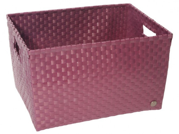 Open basket with open handles in aubergine by Handed By