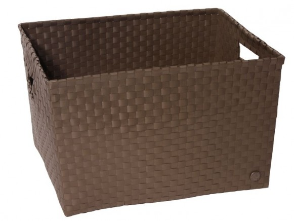 Open basket with open handles in darktaupe by Handed By
