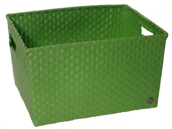 Open basket with open handles in palmgreen by Handed By
