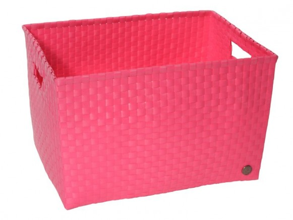 Open basket with open handles in pink by Handed By