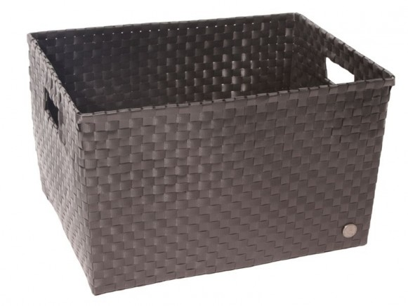 Open basket with open handles in black by Handed By