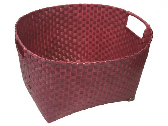 Round laundry basket in aubergine by Handed By