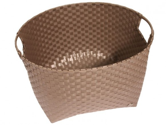 Round laundry basket in darktaupe by Handed By