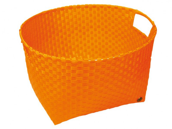 Round laundry basket in orange by Handed By