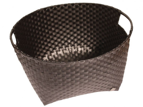 Round laundry basket in black by Handed By