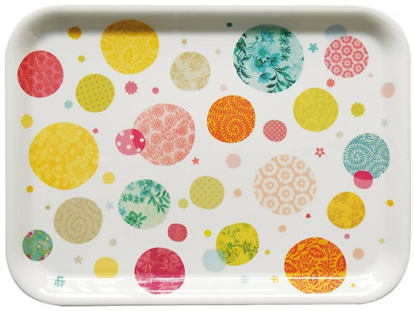 Large melamine tray with patterned dots by Mini labo
