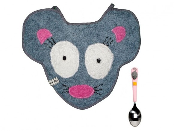 Bib and spoon Mouse by Petit Appetit