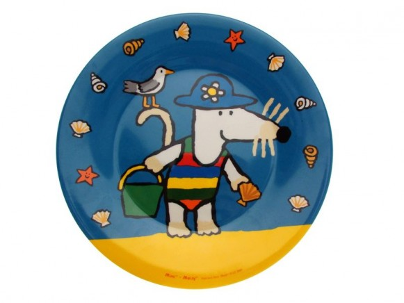 Kids melamine plate with Mausi in blue by Petit Jour