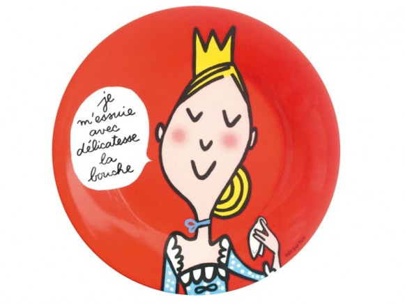 Red melamine plate with blonde princess by Petit Jour