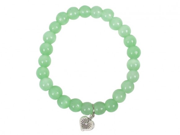 Stone bracelet in green with silver pendant by RICE