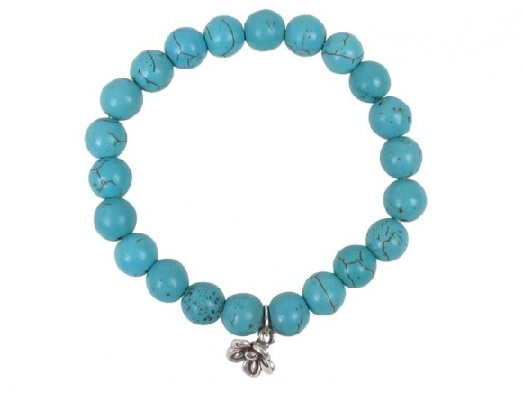 Stone bracelet in turquoise with silver pendant by RICE