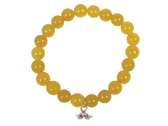 Stone bracelet in yellow with silver pendant by RICE