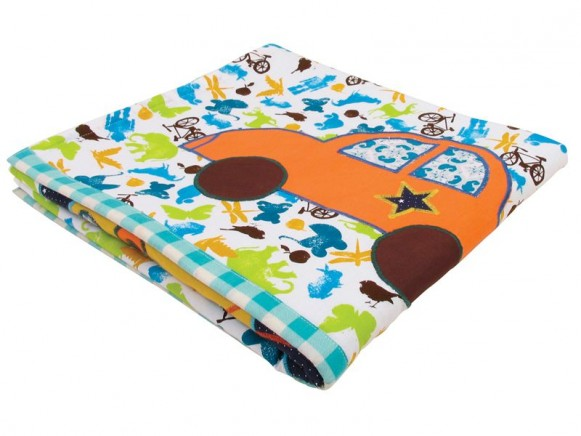 Baby blanket for boys in stencil print with applications by RICE