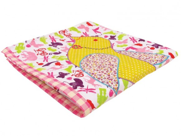 Baby blanket for girls in stencil print with applications by RIC