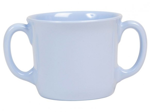 Baby melamine cup with 2 handles in solid blue by RICE