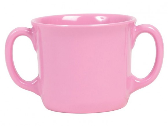 Baby melamine cup with 2 handles in solid pink by RICE